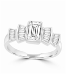 Helene - Beautiful Ring with 1.0 Ct. Emerald Cut Center accentuated with Baguette Masterpieces, 2.75 Cts. T.W, in Platinum Plated Sterling Silver.