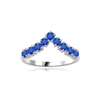 Stacking Rings-V-shaped Sapphire rings in white gold