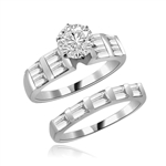 Aeneas and Dido - Brilliant Wedding Set, 2.8 Cts. T.W, 1.0 Ct. Solitaire and Sqaure Baguettes in Bar Setting, in Platinum Plated Sterling Silver.