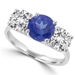 sapphire three stone platinum plated sterling silver ring