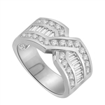 Tenderly- Platinum Plated Sterling Silver  ìXî ring 2.5 cts.t.w