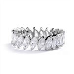Silver ring- marquise cut stones set in angular setting