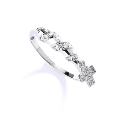 Appealing and Unusual Band with a dangling Cross and softly glowing Diamond Essence pieces, 0.25 Cts.t.w. in Platinum Plated Sterling Silver.