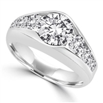 Platinum Plated Sterling Silver ring with 2.0 ct. center stone, with round stones down the sides. 3.5 cts.t.w.