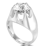 Platinum Plated Sterling Silver man's ring with a 4.0 cts.t.w. round cut stone.