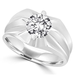 Platinum Plated Sterling Silver man's ring with a 2.0 cts.t.w. round cut Diamond Essence masterpiece. Enhances his appealing nonchalant attitude.