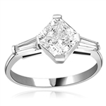 1.75 cts Square cut Diamond ring in Silver