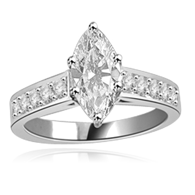 Classic Ring with a 1 Ct. Marquise Cut Diamond Essence Masterpiece in the center and an inriguing Melee of Channel Set Masterpieces down the band. 1.3 Cts. T.W, in Platinum Plated Sterling Silver.