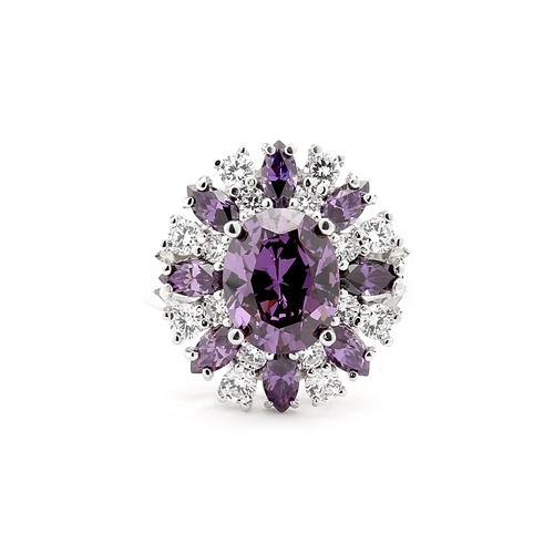 This designer ring is just perfect for party lovers to show-off. 3.0 ct. oval cut amethyst, surrounded by 8 small amethyst marquise,1.3 cts.and white round stones 0.80 cts. all around it, 5.10 cts T.W. set in Pltinum Plated Sterling Silver.