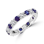 sapphire eternity band on platinum plated silver