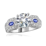 Diamond-&-Sapphire Ring in Platinum Plated Silver