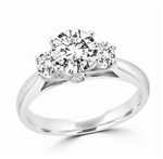 Round diamond essence three stone silver ring