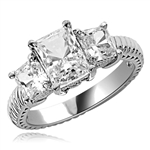 2.5cts. Elegantly styled 3 stone princess ring in Platinum Plated Sterling Silver