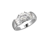 Classic ring with 1 carat Diamond Essence round brilliant with baguettes on each side. 2.5 cts.t.w. in Platinum Plated Sterling Silver.