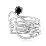 Diamond essence Designer Ring with Bezel set Onyx and Round Brilliant stones, 1.0 cts. T.W. set in Platinum Plated Sterling Silver.