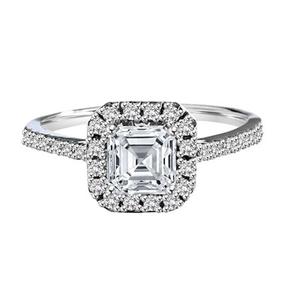 Diamond Essence Designer Ring with 1.25 ct. Asscher cut center stone surrounded by round stones. 1.75 ct.T.W. set in Platinum Plated Sterling Silver.