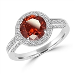 Diamond Essence Designer ring with 2.0 ct. Round Chocolate stone in center, surrounded by round stones, 2.5 ct. tw. in Platinum Plated Sterling Silver.
