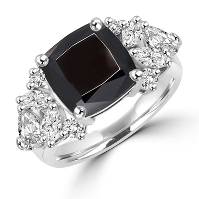 Diamond Essence Designer ring with 4.0 ct. Onyx center with round, marquies and heart shaped stones on each side, 6.5 ct. tw. in Platinum Plated Sterling Silver.