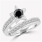 Diamond Essence Designer ring with 0.5 ct. round Onyx center with round stone on band, 1.0 ct. tw. in Platinum Plated Sterling Silver.
