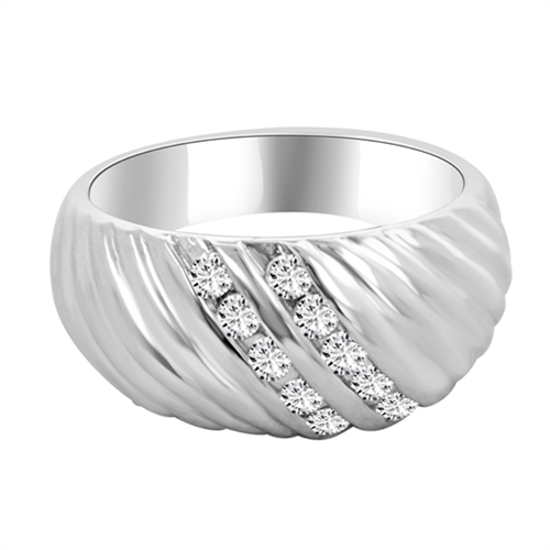 Diamond Essence Ring with Channel Set Round Brilliant Stones in Platinum Plated Sterling Silver, 0.30 Ct. T.W.