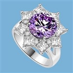 Designer Ring with 3.5 Cts. Round Lavender Essence in center surrounded by Princess Cut Diamond Essence and Melee, making a Beautiful Floral Design. 6.5 Cts. T.W. set in Platinum Plated Sterling Silver.