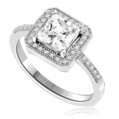 Princess cut Diamond Essence centerpiece,surrounded by Round Brilliant Melee in this pretty Engagement Ring. 2.0 Cts. T.W. set in Platinum Plated Sterling Silver.
