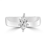 Wide Band Solitaire Ring with 0.75 ct.t.w. of Diamond Essence Marquise cut stone, set in six prongs setting, Platinum Plated Sterling Silver.