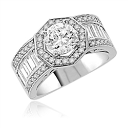 Diamond Essence Designer Ring with 1.50 Cts. Round Brilliant Center, Accompanied By Baguettes and Melee on side, 4 Cts.T.W. In Platinum Plated Sterling Silver.