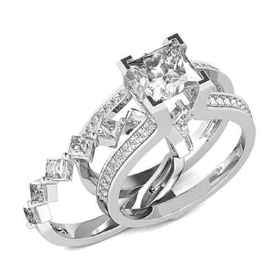 Diamond Essence Designer Wedding set with insertable wedding ring of 0.10 ct. each princess melee. Main band with 2 carat Princess cut center and round melee on the band. Beautiful wedding set with 3.5 Cts.t.w. in Platinum Plated Sterling Silver