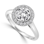 Diamond Essence Ring with 1 Ct. Round Brilliant Stone And Melee Set In Platinum Plated Sterling Silver Bezel Setting, 1.15 Cts.T.W.