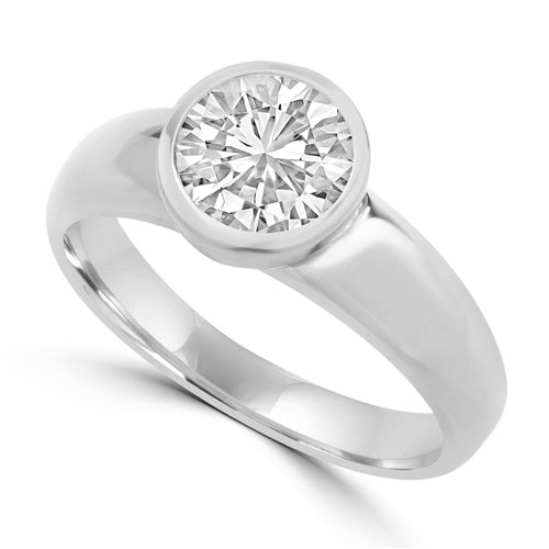 Diamond Essence 1.25 Cts.T.W. Round Brilliant Bezel Set Solitaire Ring in Platinum Plated Sterling Silver.
