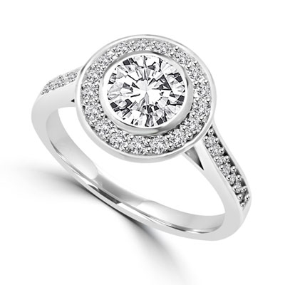 Diamond Essence Bezal set Ring with 1 Ct. Round Brilliant And Surrounding Melee, 1.25 Cts. T.W. In Platinum Plated Sterling Silver.