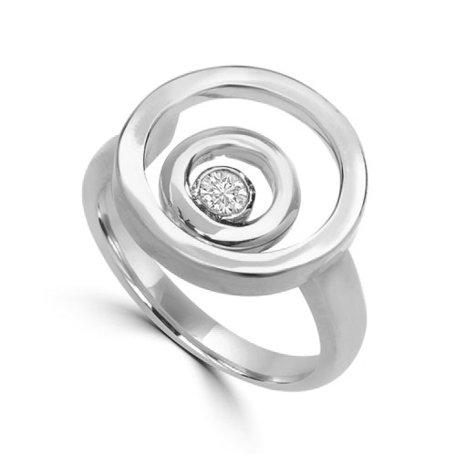 Diamond Essence Ring with 0.20 Ct. Round Brilliant Stone In Bezel Setting, With Three Circle Design, in Platinum Plated Over Sterling Silver.