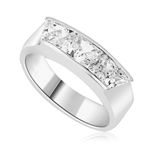 Men's Ring with five Chanel set, Triangle cut Diamond Essence. 1.5 Cts T.W. set in Platinum Plated Sterling Silver.