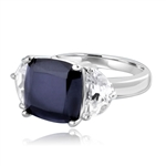 Half Moon Ring -  1.0 Cts. Half Moon Shaped Diamond Essence, set on each side of 4.0 Cts. Cushion cut Onyx Essence in center, 6.0 Cts. T.W. set in Platinum Plated Sterling Silver.