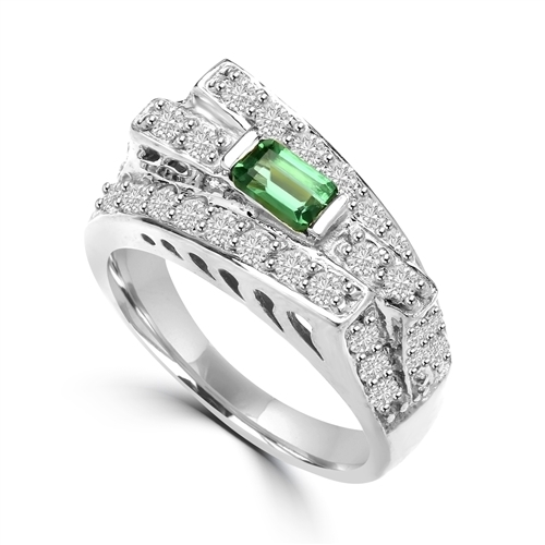 Diamond Essence Designer Ring In Unusual Artistic Design With 0.25 Ct. Emerald Baguettes And Round Melee, 1.75 Cts T.W. In Platinum Plated Sterling Silver.