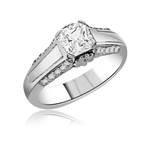 Solitaire Ring - 1.5 cts. Princess cut Diamond Essence in center with melee on sides of the band. In Platinum Plated Sterling Silver. Available in select Ring sizes.