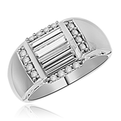 Diamond Essence Designer Ring with Three Baguetts in Center and   Melee on all four sides set in Platinum Plated Sterling Silver, 1.5 Cts. T.W.  Available in select Ring Sizes.