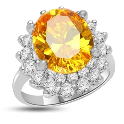 Canary Charisma! Magnificent Brilliance of 4.0 Cts. Canary Essence stone sitting on top of flower bed of 2.0 Cts. Of Round Briliant Masterpieces. Appx. 6.0 Cts. T.W.