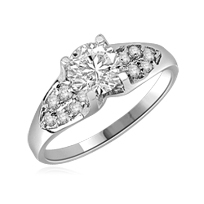 Diamond Essence Designer Ring with 1.0 Ct. Round Brilliant Stone in center accompanied by glittering Melee on sides, 1.50 Cts.T.W. set in Platinum Plated Sterling Silver.