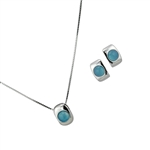 Diamond Essence Sky Agate Earring & Pendant in Sterling Silver- SSET417SA