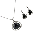 Diamond Essence Black Agate Earring & Pendant in Antique Silver- SSET447BA