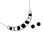 Diamond Essence Black Agate Earring & Choker necklace in Sterling Silver- SSET622BA