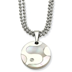 Diamond Essence Stainless Steel Polished & Mother of Pearl Circle with Diamond Essence melee.