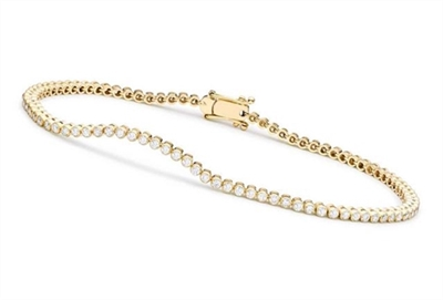7 inch Long Diamond Essence Bezal-Set Bracelet With 0.25 Ct. Each Round Brilliant Stone, 8Cts.T.W. In 14K Gold Vermeil.