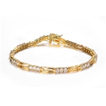 7 inch Long Diamond Essence Designer Bracelet With 0.06 Ct. Each Round Brilliant Stone In 14K Gold Vermeil.