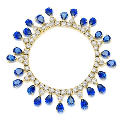 "Diamond Essence dazzling Bracelet, 7.25"" long. 1.0 Ct. each Sapphire Essence Stone dangling from Round Brilliant Diamond Essence stone. Appx. 50.0 Cts. T.W. in 14K Gold Vermeil."
