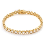 "Gold Vermeil Bracelet, 7"", with round bezel set Diamond Essence stones 0.25 cts. each, 32 in all, 8.75 cts.t.w."
