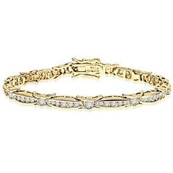 6.75 inch bracelet with unusual link setting in Gold Vermeil