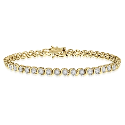 S links in bezel setting bracelet in Gold Vermeil